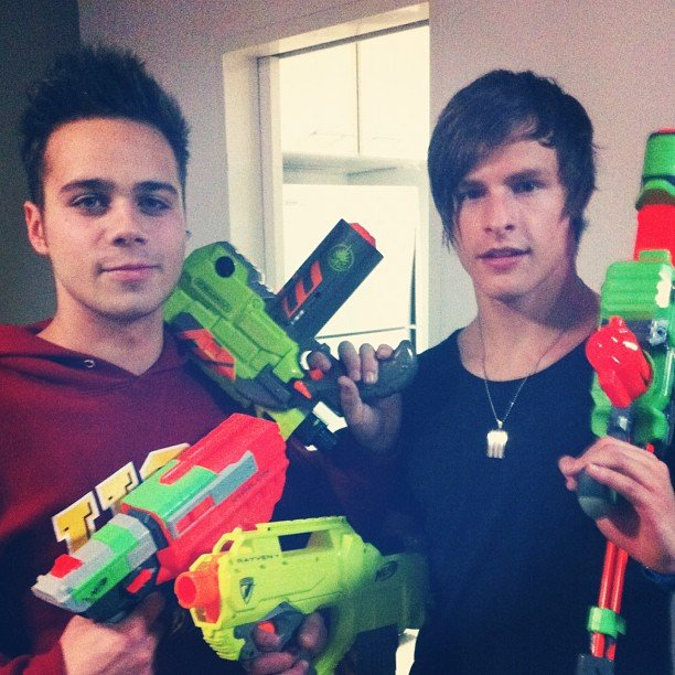 The Collective's Julian Devizio and Trent Bell stocked up on nerf guns. Source: Instagram user juliandevizio