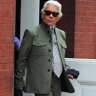 Karl Lagerfeld Wearing Green in New York City | Pictures
