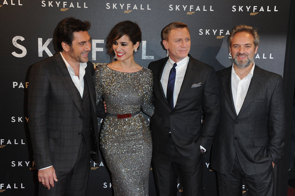 The cast of Skyfall posed on the red carpet for the film's Paris premiere.