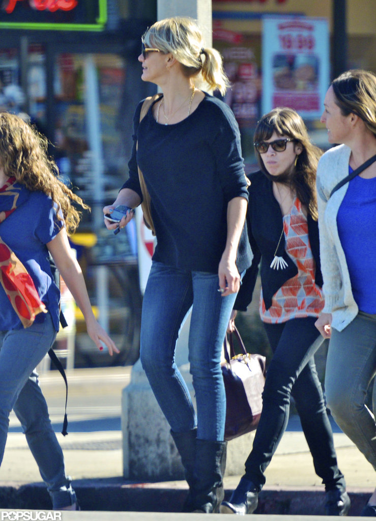 Cameron Diaz went to lunch with friends in LA.