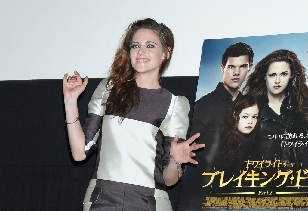 Kristen Stewart smiled at an event to promote Breaking Dawn Part 2 in Japan.