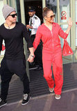 Jennifer Lopez waved to fans as she walked with Casper Smart.