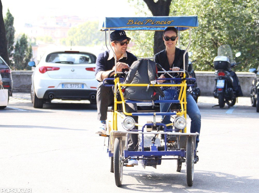 Olivia Wilde and Jason Sudeikis pedaled through Rome.