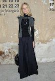 Model Hanne Gaby stepped out in a maxi skirt and a fitted contrast knit top.