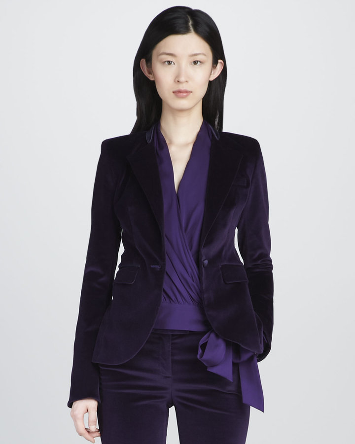 Rachel Zoe's Hutton Velvet Blazer ($425) is perfectly plush, and great for wearing over a cream-colored dress.