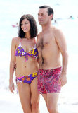 Jessica Paré wore a printed bikini to film scenes with Jon Hamm in Maui.