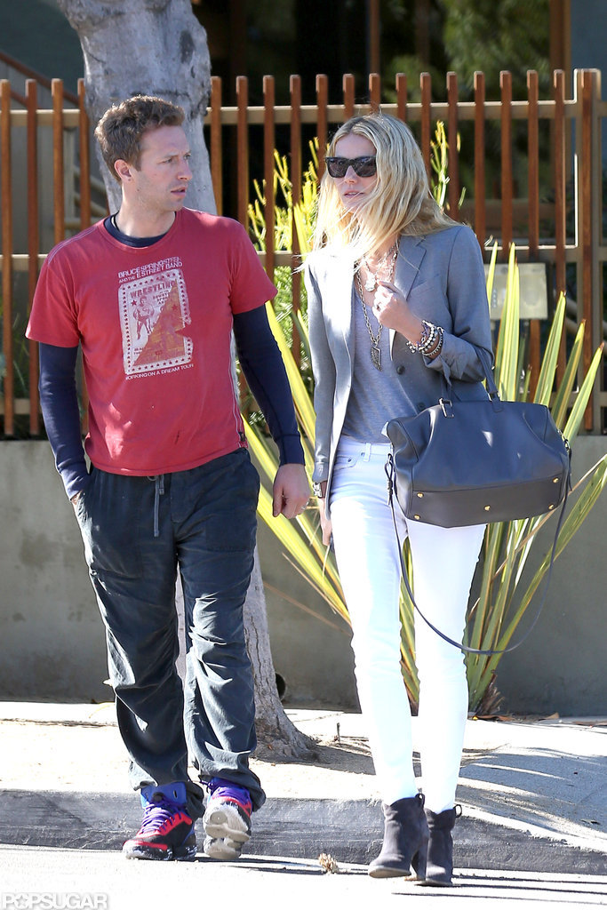 Gwyneth Paltrow and Chris Martin walked out of a building together in Santa Monica, CA.