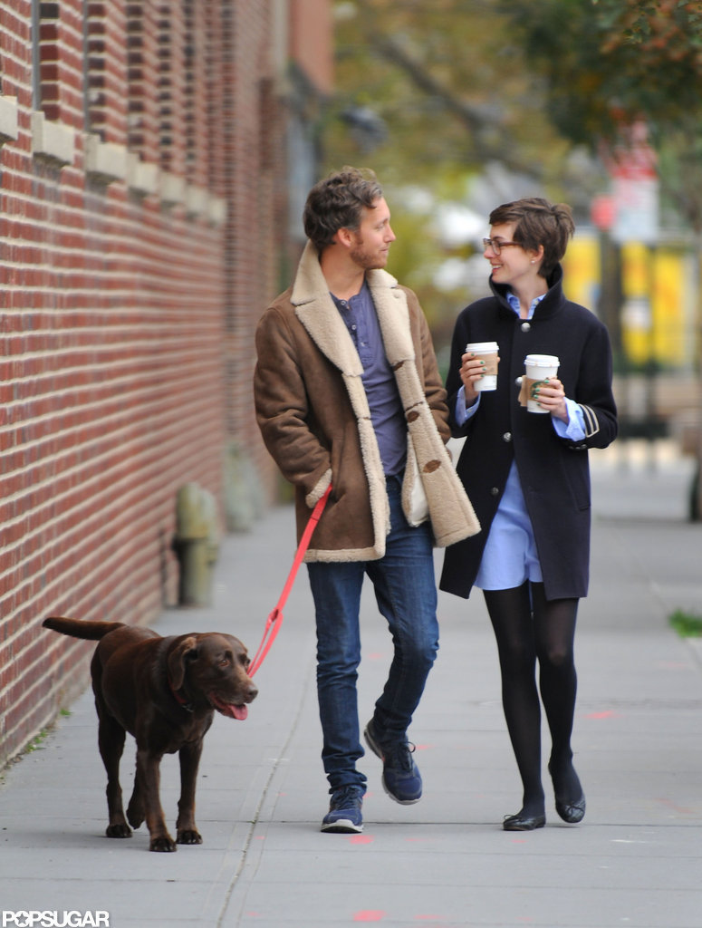 Anne Hathaway and Adam Shulman chatted in Brooklyn.