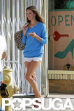 Alessandra Ambrosio showed some leg in short shorts.
