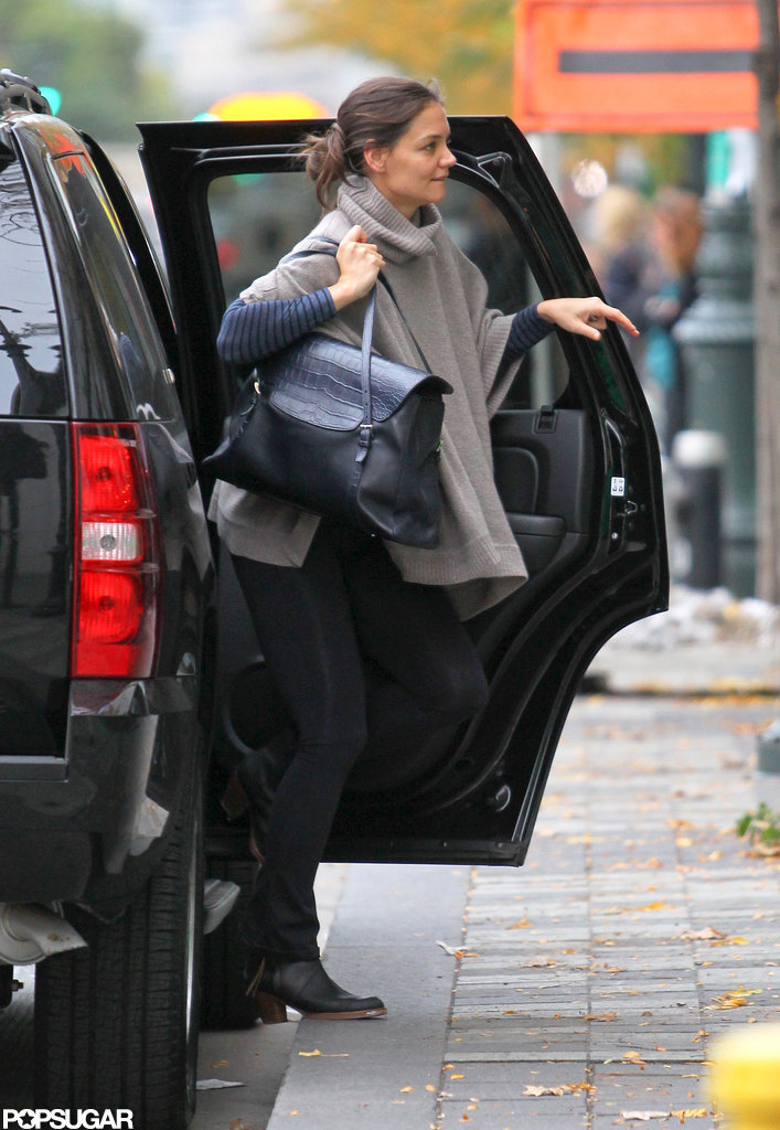 Katie Holmes got out of her car in NYC.