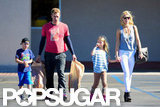 Gwyneth Paltrow and Chris Martin walked with Apple and Moses.