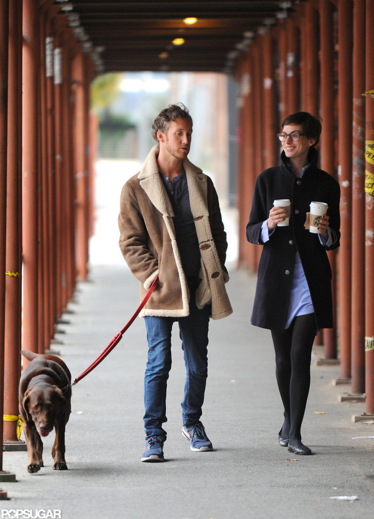 Anne Hathaway and Adam Shulman walked together in Brooklyn.