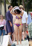 Jessica Paré wore a printed bikini to film Mad Men in Maui.