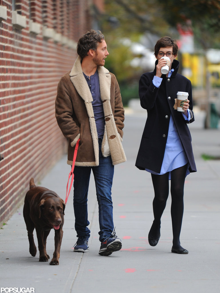 Adam Shulman spent time with his wife Anne Hathaway in Brooklyn.