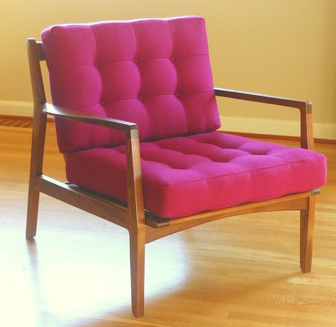 Incorporate a little vintage flare into your living room with this bright pink Mid Century Inspired Lounge Chair  ($1,100). Whether  your decor is strictly modern or is a blend of styles, this piece will make a statement.