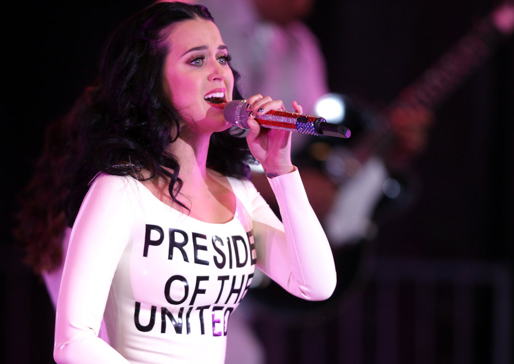 Katy Perry Celebrates Birthday in Latex Obama Dress
