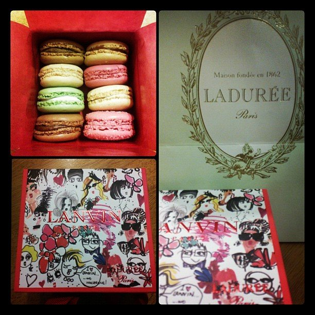 Macarons! Better still, Laduree macarons! We died and went to sugary heaven.