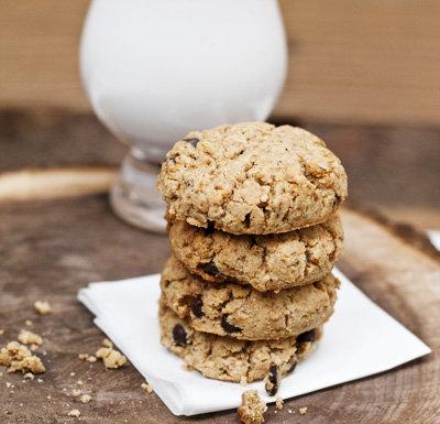 soft thick vegan coconut flour chocolate chip cookies