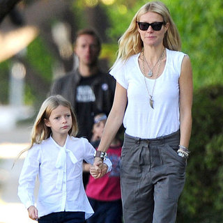 Gwyneth Paltrow Walking to School With Her Kids in LA