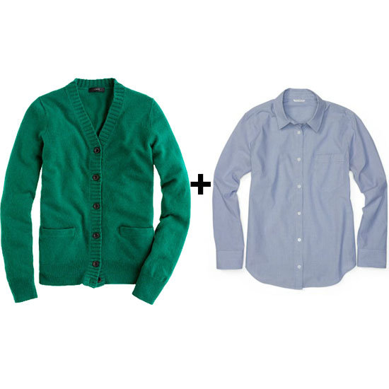 Nothing says polished prep like a classic wool cardigan (we love this emerald green hue) styled with a chambray blouse. Extra points for buttoning your blouse all the way up to the top and accessorizing it with a statement necklace underneath.  J.Crew Dream Cardigan ($75, originally $85) Club Monaco Charter Shirt ($99)