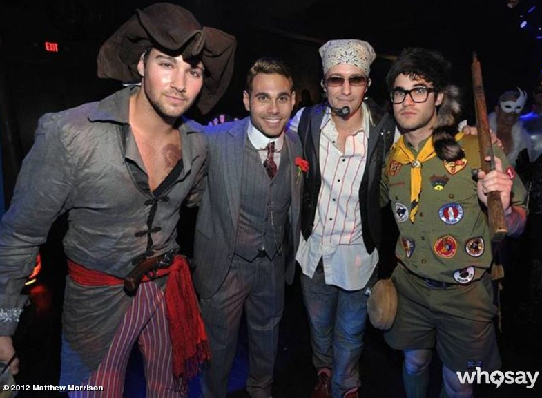 Justin Timberlake and Sam From Moonlight Kingdom Matthew Morrison donned a vintage Justin Timberlake costume, while his Glee costar Darren Criss went as Sam from Moonlight Kingdom. Source: Matthew Morrison on WhoSay