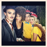 Charlie Chaplin, Foxy Brown, Tweedledee, and Tweedledum Pretty Little Liars costars Tyler Blackburn (as Charlie Chaplin), Shay Mitchell (as Foxy Brown), and Ashley Benson (as either Tweedledee or Tweedledum) posed together.  Source: Instagram user shaym