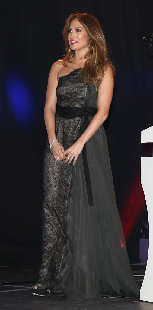 Jennifer Lopez wore a long black lace gown.