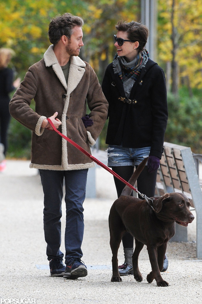 Anne Hathaway and husband Adam Shulman walked in Brooklyn.