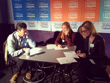 Jon Hamm, Jennifer Westfeldt, and Stephanie March called voters on behalf of President Obama's reelection campaign. Source: Instagram user ofa_co