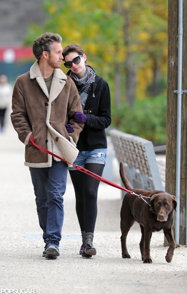Adam Shulman and Anne Hathaway walked  their dog together in Brooklyn.
