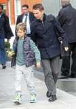 Kate Hudson's son Ryder walked with Matthew Bellamy in London.
