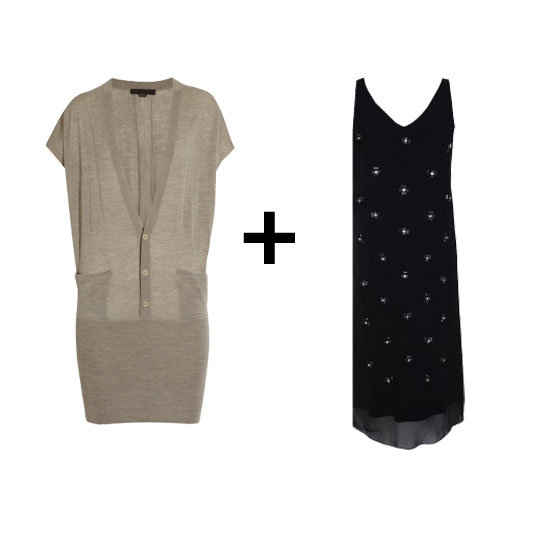 This printed slip dress is begging for a warmer contrast. Finish it off with black tights and chunky ankle boots for easy office attire. Alexander Wang Merino Wool Sweater Dress ($158, originally $395) Tibi Serafina Slip Dress ($698)