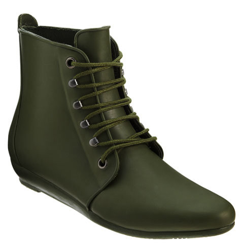 The Loeffler Randall rain bootie ($165) is everything we want from a nontraditional rain boot. Between its slick lace-up style and army green hue, you can mix and match this boot with every kind of outfit.