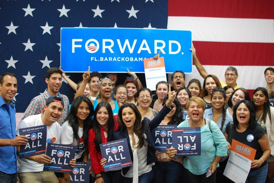 Obama campaign cochair Eva Longoria fired everyone up in Florida.  Source: Facebook User Obama for America