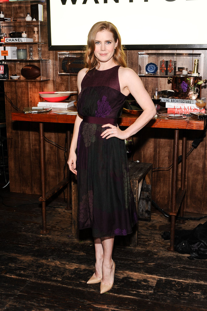 Amy Adams wore a plum-colored dress.