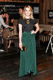 Emma Roberts wore a black tee and long Vena Cava skirt.