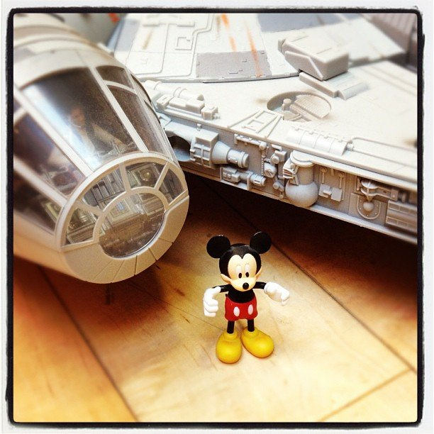 """Mickey Mouse checking out his latest toy. @Disney buys #Lucasfilm. #Awesome #dalton"" — daltonagency Source: Instagram user daltonagency"