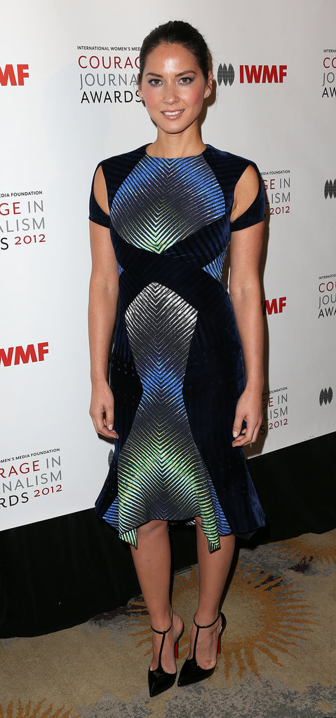 Olivia Munn showed off a unique printed Peter Pilotto cutout dress at an awards ceremony in Beverly Hills at the end of the month.
