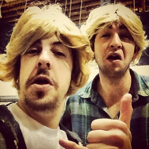 SNL's Californians Christopher Mintz-Plasse and Nicholas Braun dressed as SNL's Californians. Source: Instagram user mintzplasse
