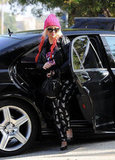Christina Aguilera sported a pair of skeleton pants for the occasion in Brentwood.
