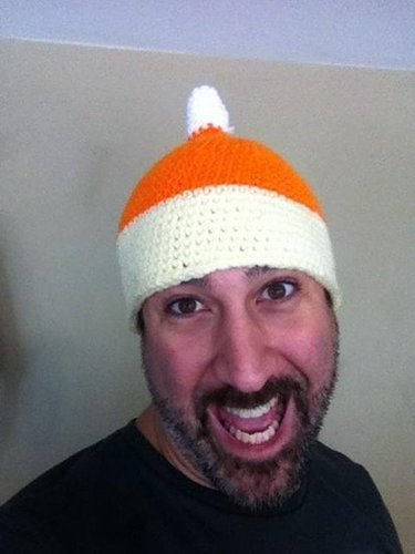 Joey Fatone tried on a candy corn hat. Source: Twitter user realjoeyfatone