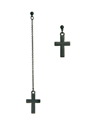Another cross earring is this ASOS cross earrings set ($10). We dig the black color.