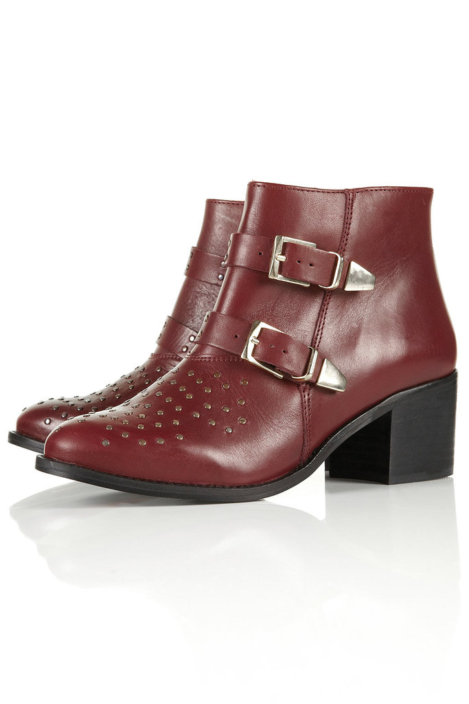 In Fall's rich burgundy hue, these Topshop Alvin Studded Western Boots ($180) nail two trends at once.
