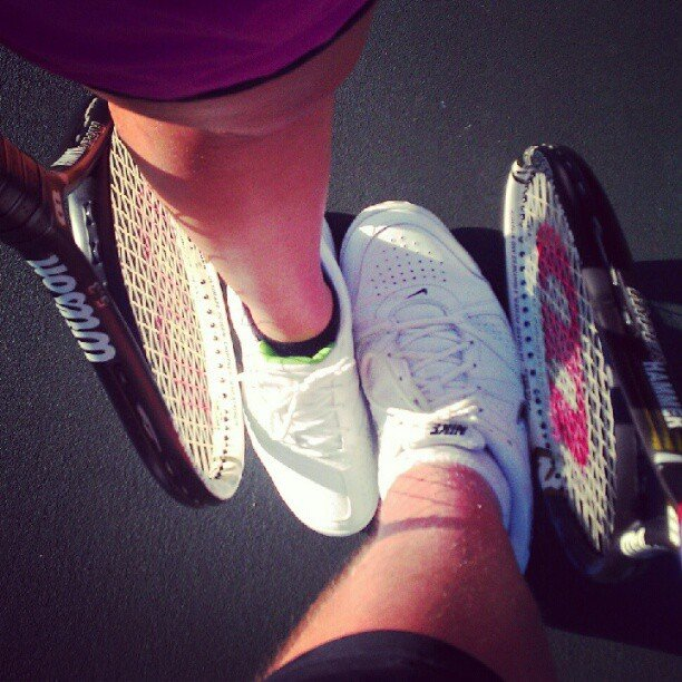 Another couple took their love outdoors to the tennis court.  Source: Instagram user kt_gorman