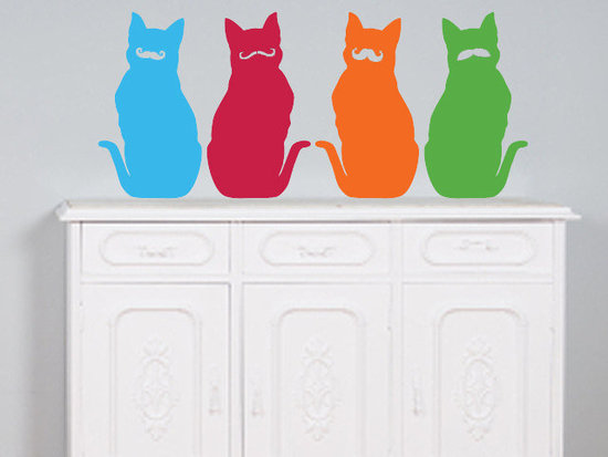 Mustached Cat Wall Decals
