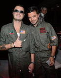 Dominic Cooper and a buddy went as Top Gun's Goose and Maverick.