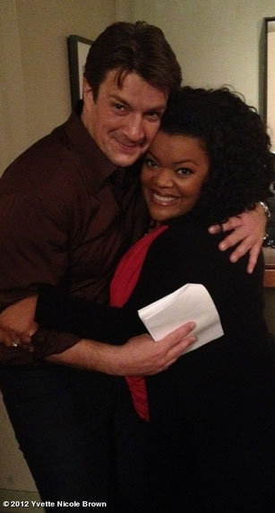 Yvette Nicole Brown found Nathan Fillion wandering around behind the scenes of Community. Source: Yvette Nicole Brown on WhoSay