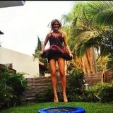 Bar Refaeli wore a costume and jumped on a minitrampoline. Source: Instagram user barrefaeli