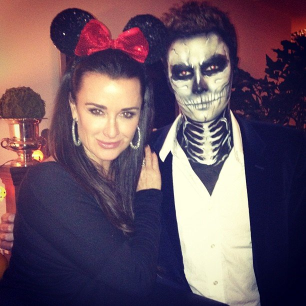 Kyle Richards, dressed as Minnie Mouse, hung out with her nephew Barron Hilton. Source: Instagram user kylerichards18