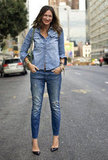 Jenna Lyons donned a head-to-toe denim look with black patent-leather pumps. Source: Phil Oh